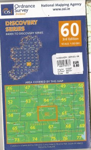 OS Map 60 showing outline of 4 OS maps for Laois: 54, 55, 60 & 61