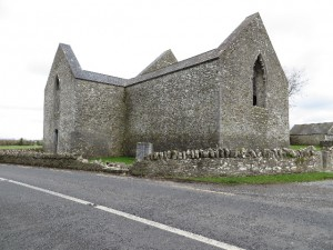 Aghaboe Priory & damaged wall, Laois (Queen's Co.), Ireland