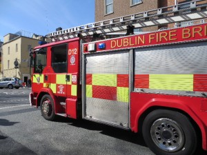Dublin Fire Brigade passing the National Library